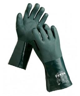 PVC/nitrīla  cimdi ar garo manžeti, skābju izturīgie, iekšpusē trikotāžas odere