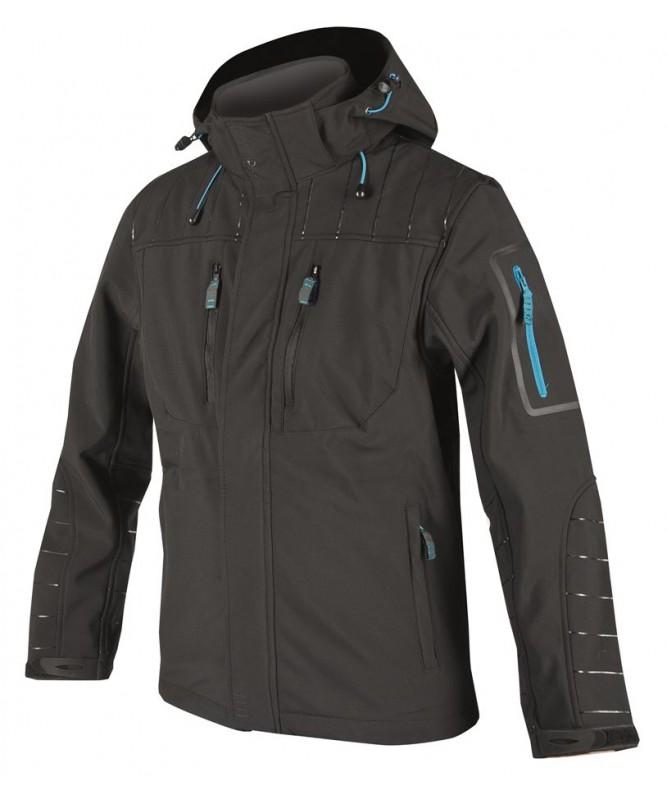 Dizainiska vīriešu softshell jaka  ar dekoratīvu apdruku uzpleciem un piedurknēm.
