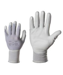 Adīti poliamīda darba cimdi ar poliuretāna pārklājumu delnā un pirksta galos 121