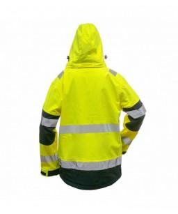 Softshell jaka ar kapuci, augstas redzamības Hi- Viz, mikroflīsa iekšodere, augstā apkakle