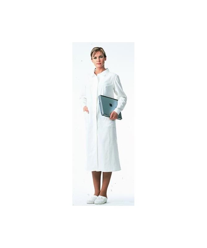 Halāts sieviešu kokvilnas balts ar pogu aizdari